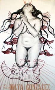 kneeling with rabbit and wings/healing through series 2008