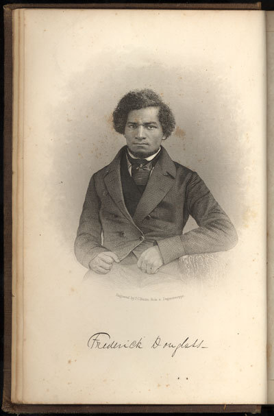 Frontis portrait of Frederick Douglass from his autobiography, My Bondage and My Freedom
