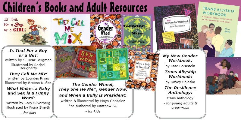 Children's Books and Adult Resources on Gender and Queerness and breaking down the binary
