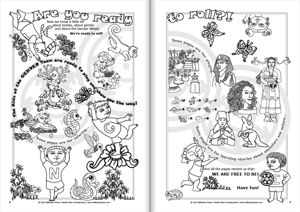 Sample Page from Gender Now Coloring Book showing Gender Wheel rolling and spinning